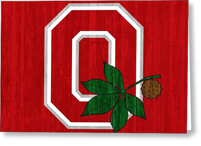 Ohio State Wood Door Greeting Card by Dan Sproul