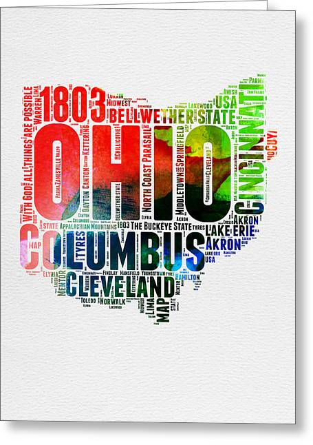 Ohio Watercolor Word Cloud Map  Greeting Card by Naxart Studio