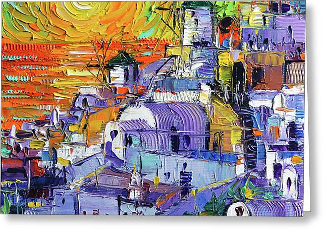 Oia Santorini Magic Light Mini Cityscape 09 - Modern Impressionist Palette Knife Oil Painting Greeting Card