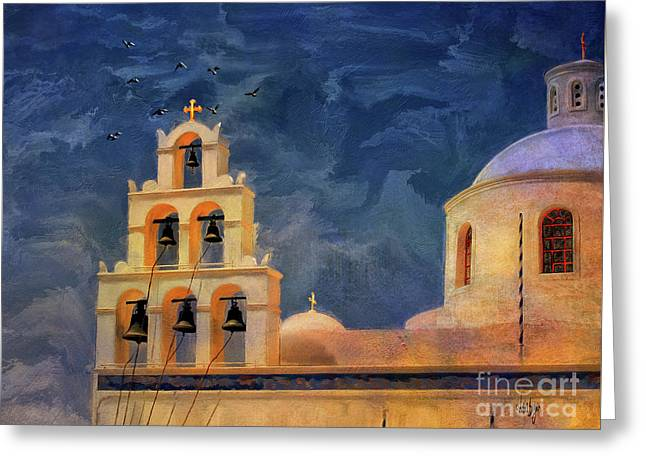 Oia Sunset Imagined Greeting Card by Lois Bryan