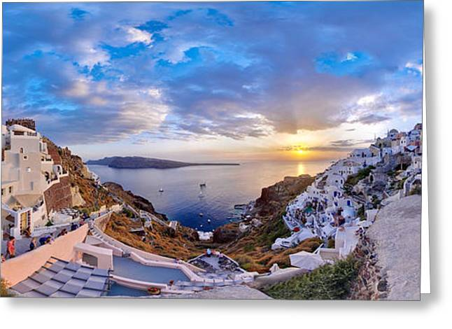 Oia Sunset Greeting Card by Milos Novakovic