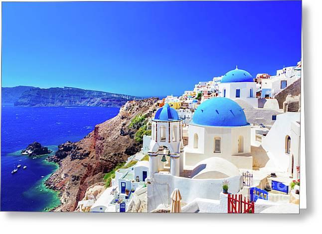 Oia Town On Santorini Island, Greece. Caldera On Aegean Sea. Greeting Card