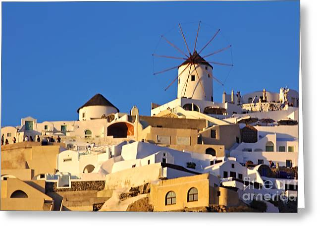 Greeting Card featuring the photograph Oia Windmill by Jeremy Hayden