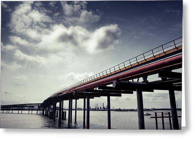 Oil Bridge Greeting Card by Joseph Westrupp