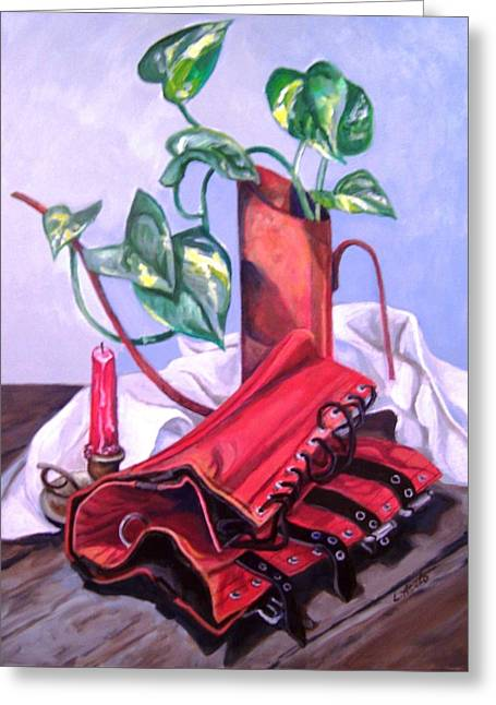 Oil Can And Corset Greeting Card