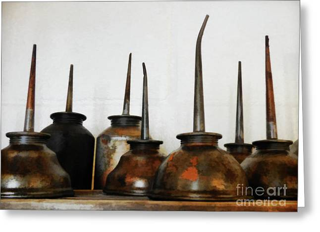 Oil Can, Rusted Greeting Card by Laura Atkinson