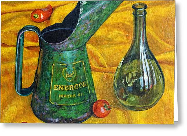 Oil Can With Red Greeting Card by Tilly Willis
