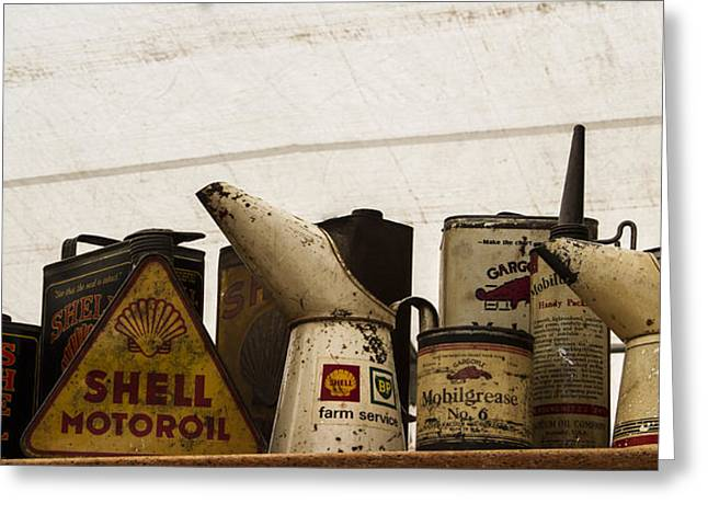 Oil Cans Greeting Card by Guy Shultz