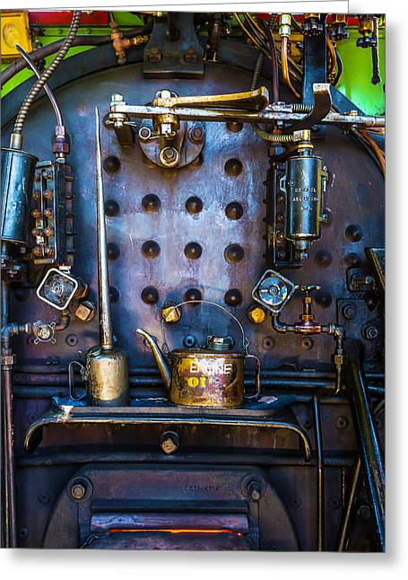 Oil Cans In Steam Engine Cab Greeting Card by Garry Gay