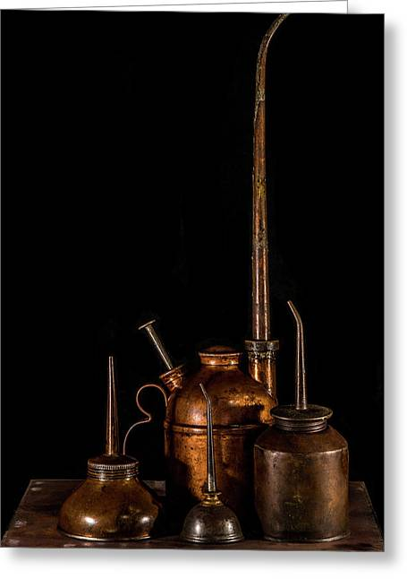 Oil Cans Greeting Card by Paul Freidlund