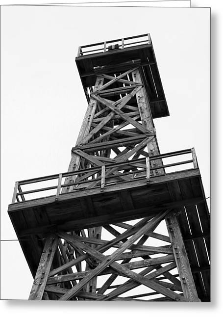 Oil Derrick In Black And White Greeting Card