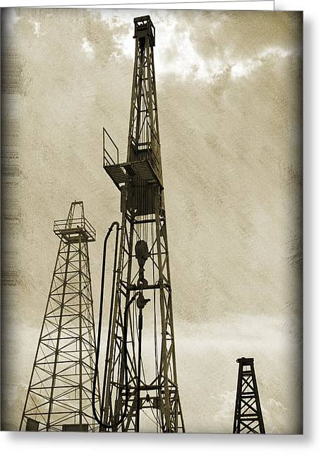 Gas Tower Greeting Cards - Oil Derrick VI Greeting Card by Ricky Barnard