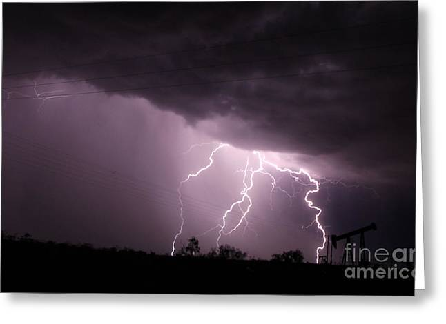 Oil Field Lightning Greeting Card