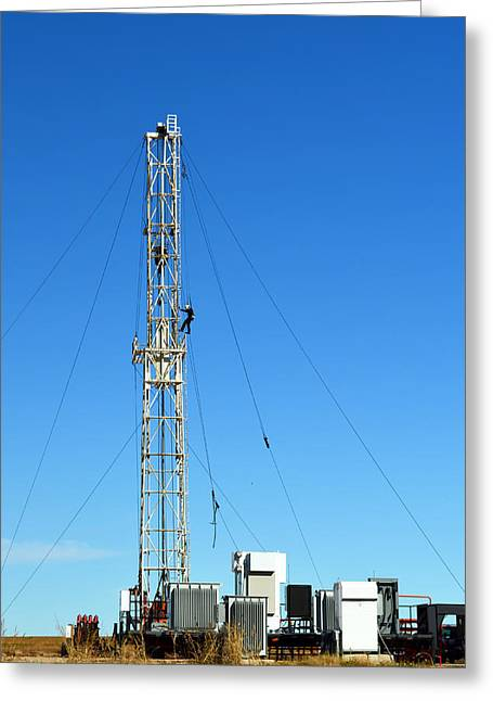 Oil Field Man At Work - Photography Greeting Card by Ann Powell