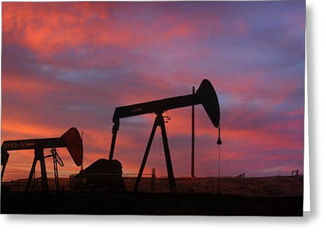 Oil Field Sunset Greeting Card by Greg Iger