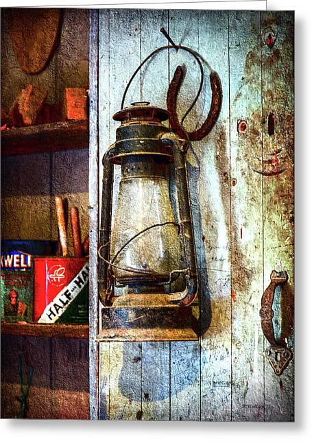 Kerosene Lamp And Horseshoe Greeting Card
