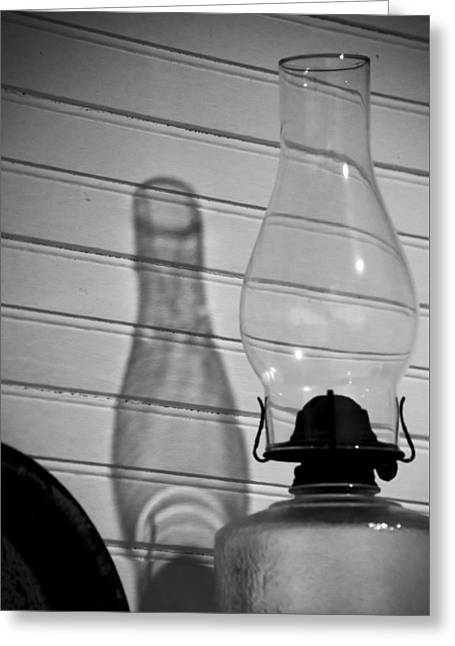 Oil Lamp B And W Greeting Card