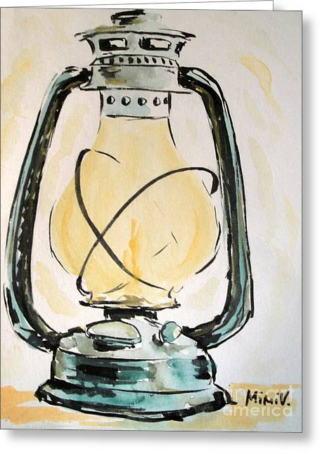 Greeting Card featuring the painting Oil Lamp by Maria Langgle