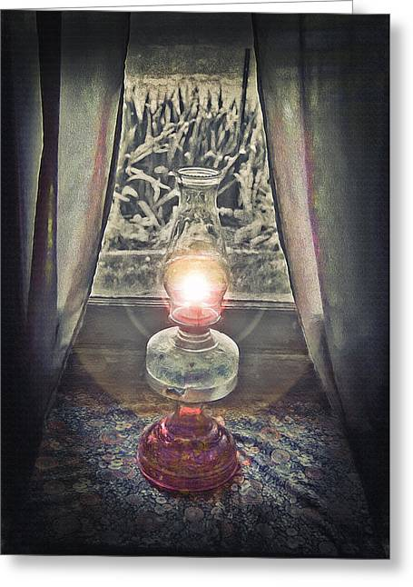 Oil Lamp - Still Life Greeting Card by Steve Ohlsen