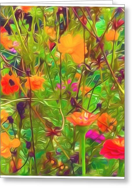 Oil Painted Affect Flowers Greeting Card