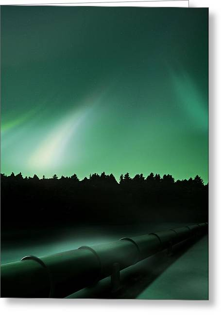 Oil Pipeline And Aurora Greeting Card