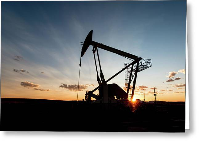 Oil Pumper At Sunset Greeting Card