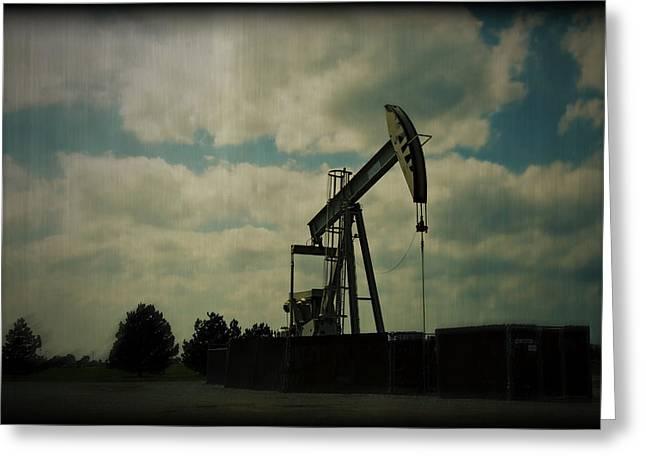 Oil Pumpjack Holga Greeting Card by Ricky Barnard