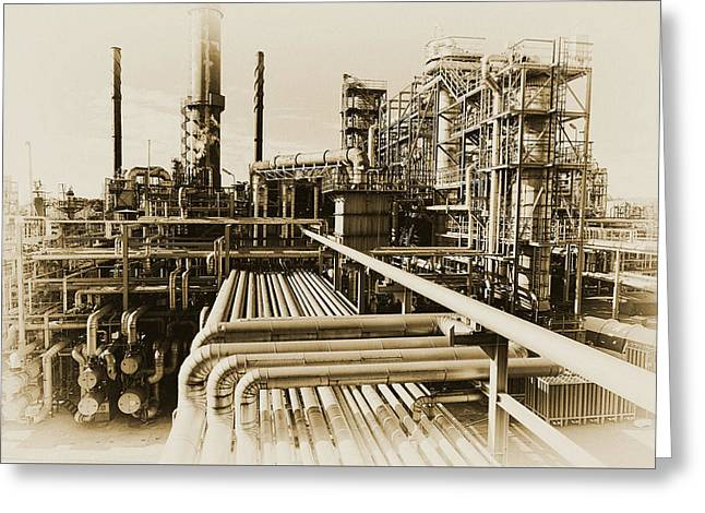 Oil Refinery In Old Vintage Processing Concept Greeting Card
