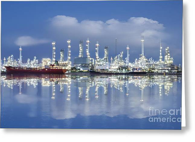 Oil Refinery Industry Plant Greeting Card by Setsiri Silapasuwanchai