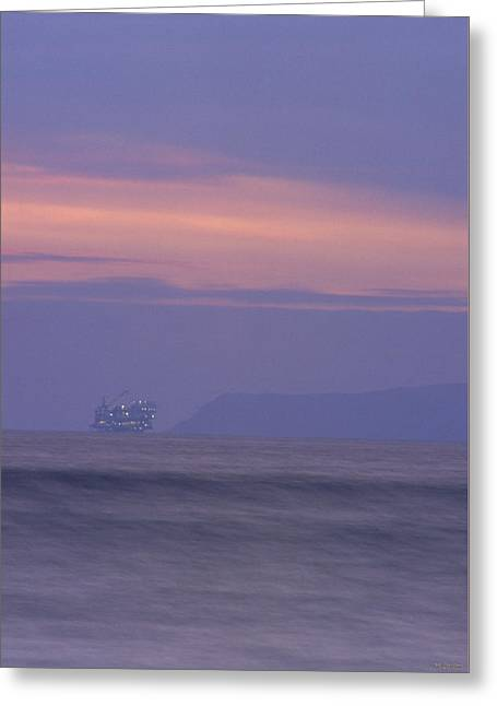 Oil Rig And Santa Cruz Island Greeting Card by Soli Deo Gloria Wilderness And Wildlife Photography