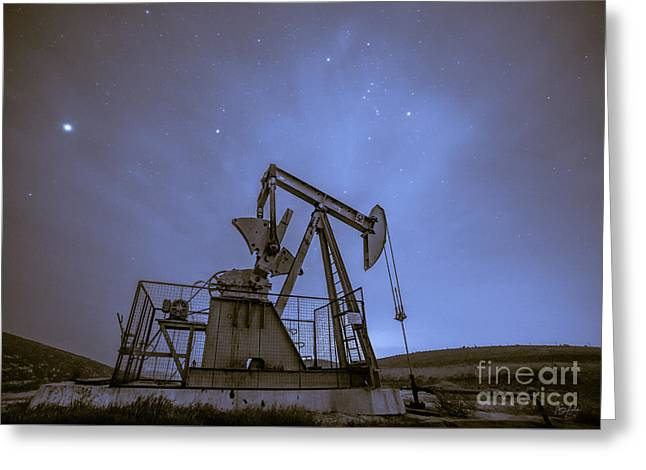 Oil Rig And Stars Greeting Card