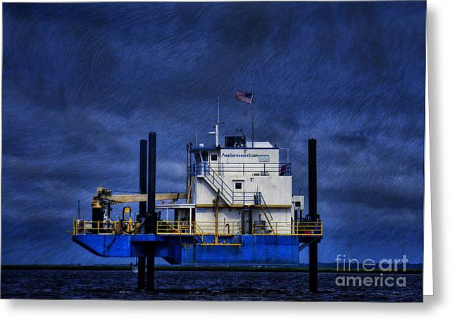 Oil Rig Greeting Card by Dave Bosse