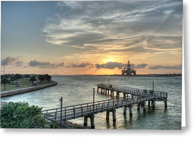 Oil Rig In Gulf Greeting Card