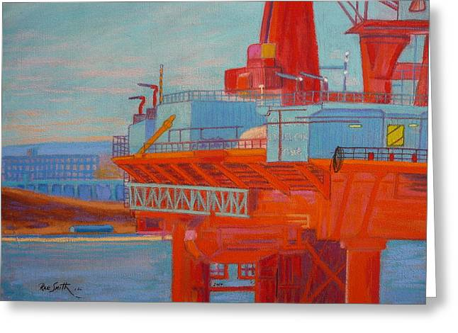 Oil Rig In Halifax Harbour Greeting Card