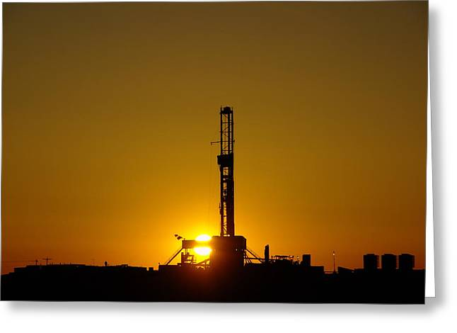 Oil Rig Near Killdeer In The Morn Greeting Card by Jeff Swan