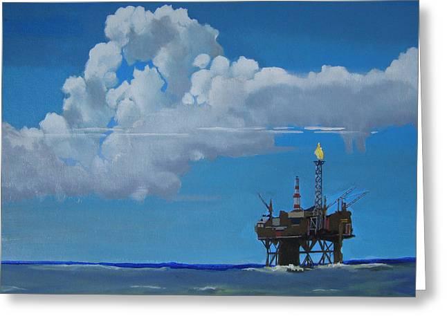 Oil Rig Near The Shetland Islands Greeting Card