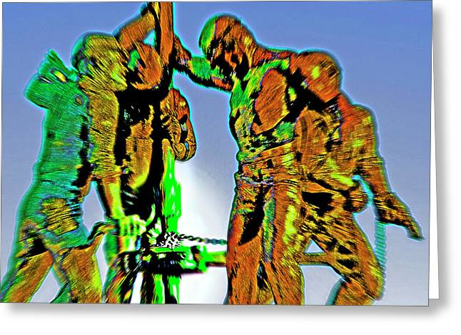 Oil Rig Workers 4 Greeting Card by Steve Ohlsen