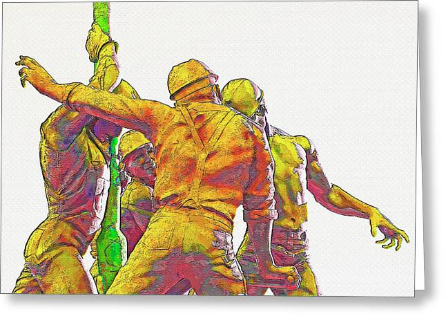 Oil Rig Workers 5 Greeting Card by Steve Ohlsen