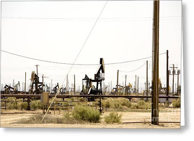 Oil Rigs, Lebec, Mojave Desert, California Greeting Card by Paul Edmondson