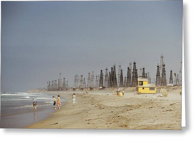 Oil Rigs Line Huntington Beach Greeting Card by J Baylor Roberts