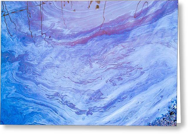 Oil Spill On Water Abstract Greeting Card