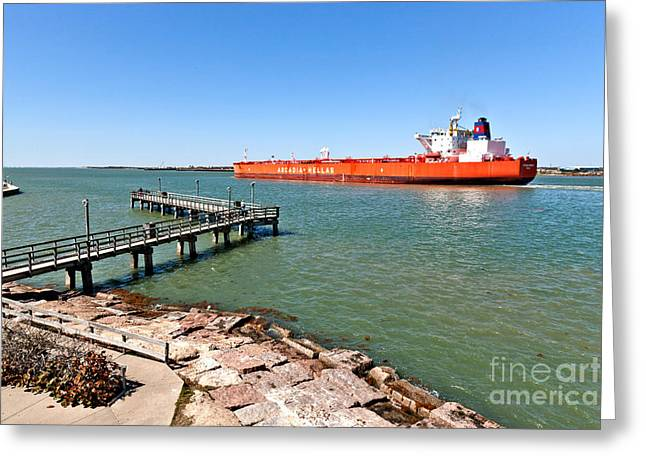 Oil Tanker Greeting Card by Inga Spence