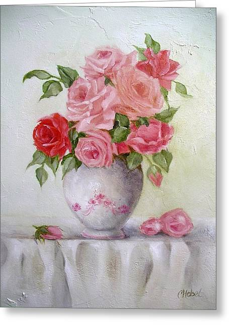 Oil Vase Rose Greeting Card by Chris Hobel