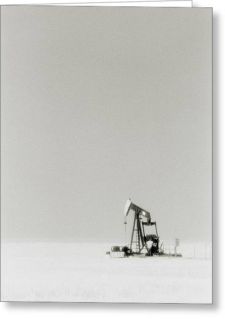 Oil Well Greeting Card by Alan Sirulnikoff