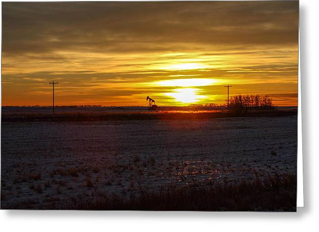 Oil Well Sunset Greeting Card by Christy Patino