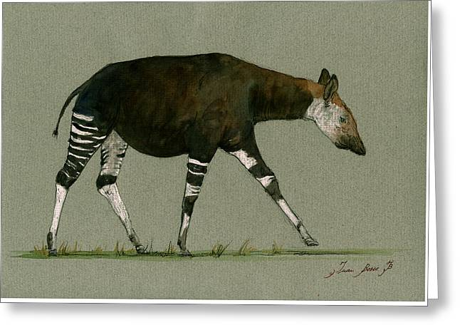 Okapi Art Watercolor Painting Greeting Card by Juan  Bosco