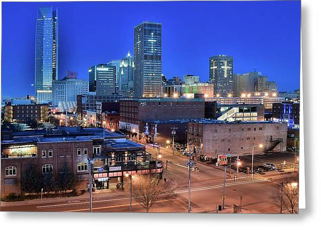 Okc Blue Panorama Greeting Card by Frozen in Time Fine Art Photography