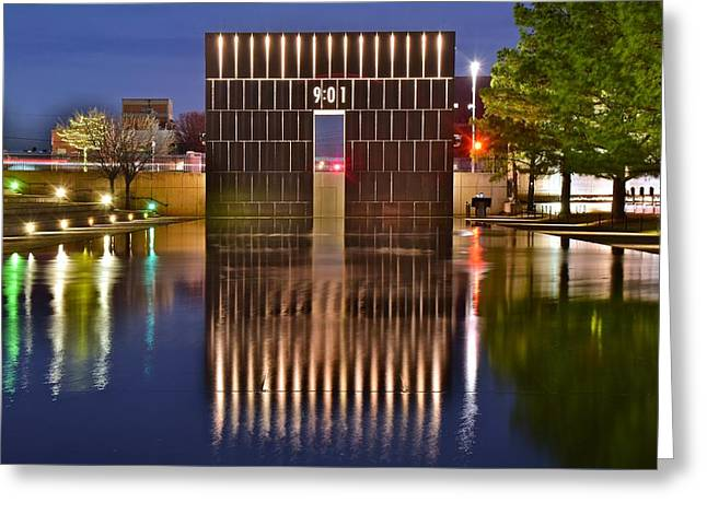 Okc Bombing Memorial Pool Greeting Card by Frozen in Time Fine Art Photography