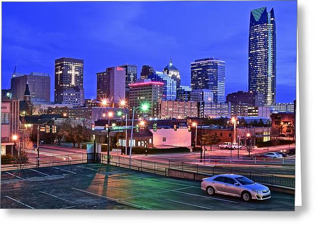 Okc Early Evening Greeting Card by Frozen in Time Fine Art Photography
