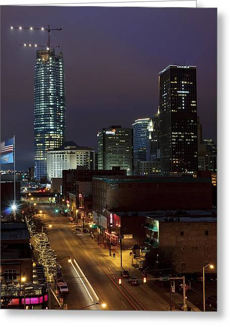 Okc Evening Greeting Card by Ricky Barnard